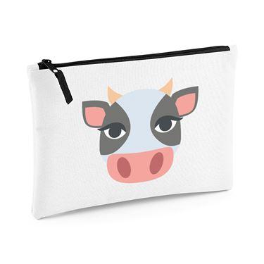 Emoji Cow Face Large Flat Pencil Case