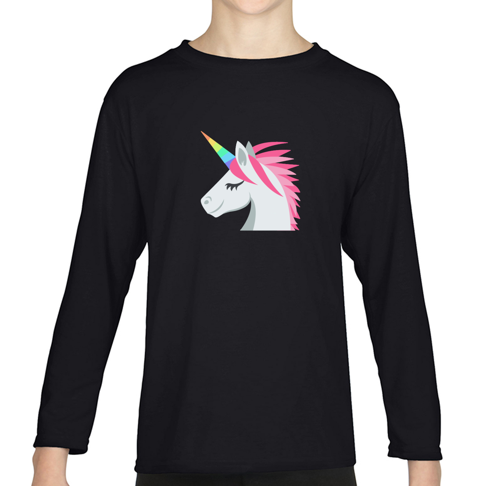 Picture of Emoji Unicorn Face Girls Long Sleeve Tshirt