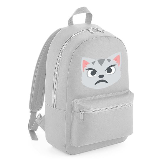 Emoji Pouting Cat Face Kids Backpack Available In Many Colours