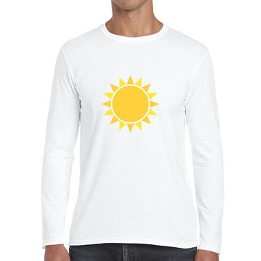 Picture of Emoji Black Sun With Rays Mens Long Sleeve Tshirt