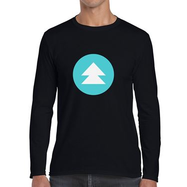 Picture of Emoji Black Up Pointing Double Triangle Mens Long Sleeve Tshirt