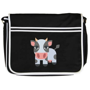 Emoji Cow Retro Messenger Bag Available In Many Colours Free Delivery Printed T Shirts Sweatshirts Hoos Backpacks Bags Fast Dispatch