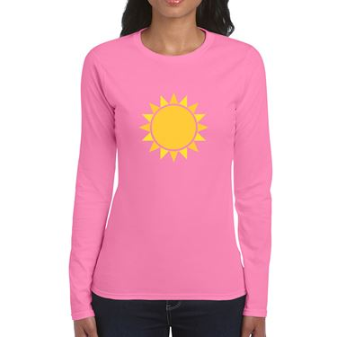 Picture of Emoji Black Sun With Rays Womens Long Sleeve Tshirt