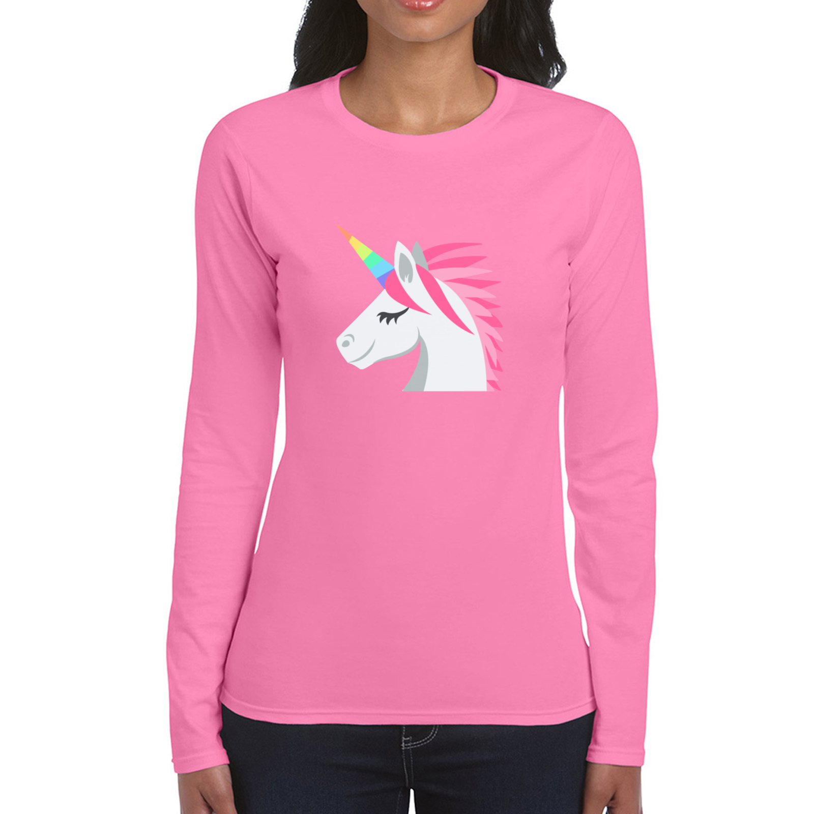 Picture of Emoji Unicorn Face Womens Long Sleeve Tshirt