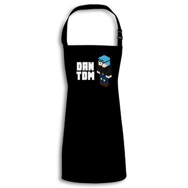 Picture of Dantdm Dan The Diamond Minecart Blue Hair Player Skin 3D Standing Left Pose And White Text Child Apron