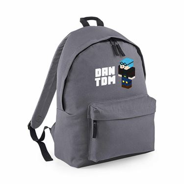 Picture of Dantdm Dan The Diamond Minecart Blue Hair Player Skin 3D Standing Left Pose And White Text Maxi Backpack
