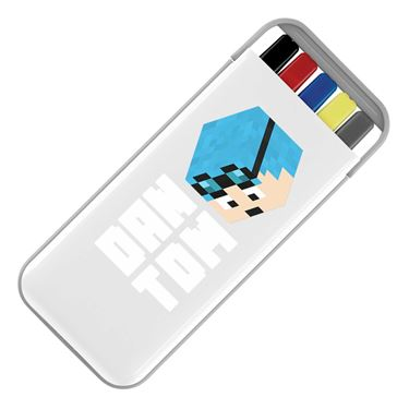 Picture of Dantdm Dan The Diamond Minecart Blue Hair Player Skin 3D Head Left Pose And White Text Stationery Set
