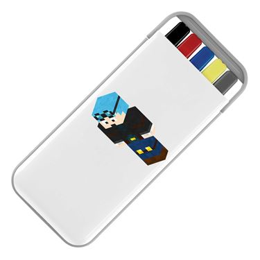 Picture of Dantdm Dan The Diamond Minecart Blue Hair Player Skin 3D Standing Left Pose Stationery Set