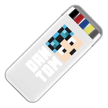 Picture of Dantdm Dan The Diamond Minecart Blue Hair Player Skin Face And White Text Stationery Set