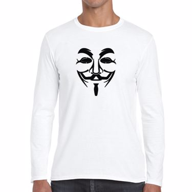 Picture of Anonymous Group Guy Fawkes Mask Mens Long Sleeve Tshirt
