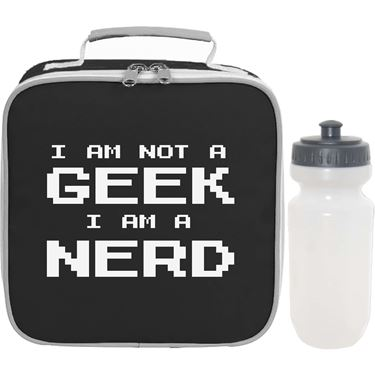 I Am Not A Geek Lunch Bag And Bottle Available In Many Colours Free Delivery Printed T Shirts Sweatshirts Hoos Backpacks Bags Fast Dispatch