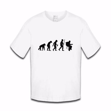 Picture of Evolution Of Man Acoustic Guitar Musician Boys Tshirt