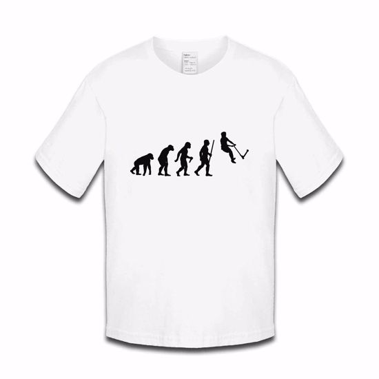 Picture of Evolution Of Man Push Kick Stunt Scooter Boys Tshirt