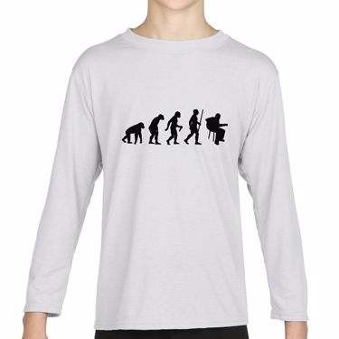 Picture of Evolution Of Man Acoustic Guitar Musician Girls Long Sleeve Tshirt