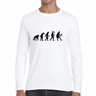 Picture of Evolution Of Man Tennis Mens Long Sleeve Tshirt