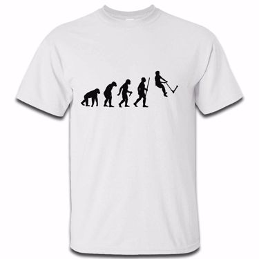 Picture of Evolution Of Man Push Kick Stunt Scooter Mens Tshirt