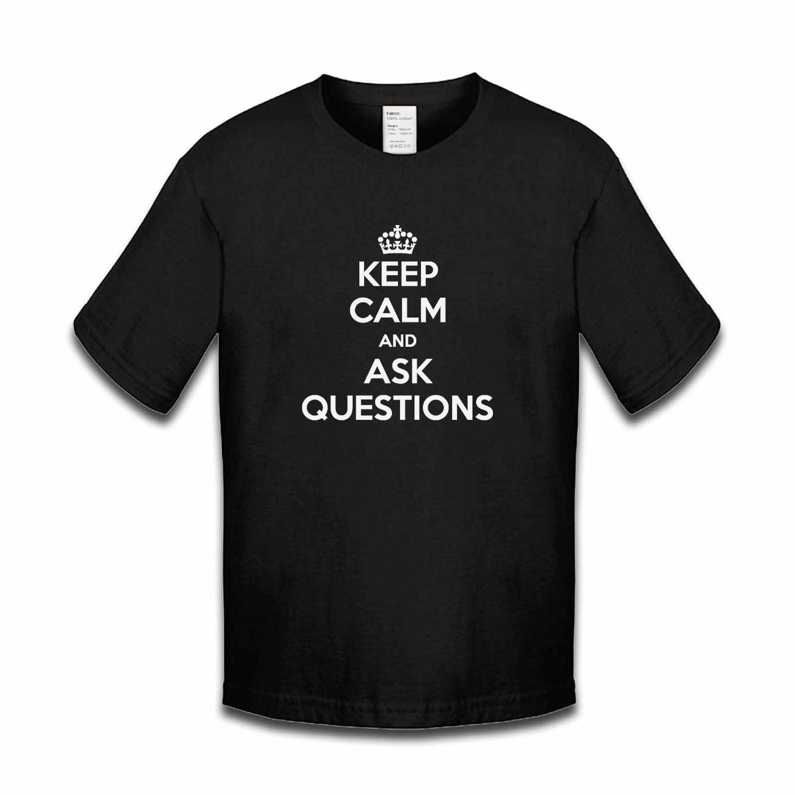 Picture of Keep Calm And Ask Questions Boys Tshirt
