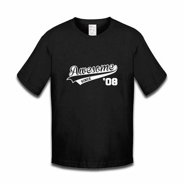 Picture of Awesome Since Year 08 2008 Birthday Anniversary Boys Tshirt