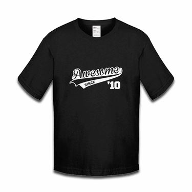 Picture of Awesome Since Year 10 2010 Birthday Anniversary Boys Tshirt
