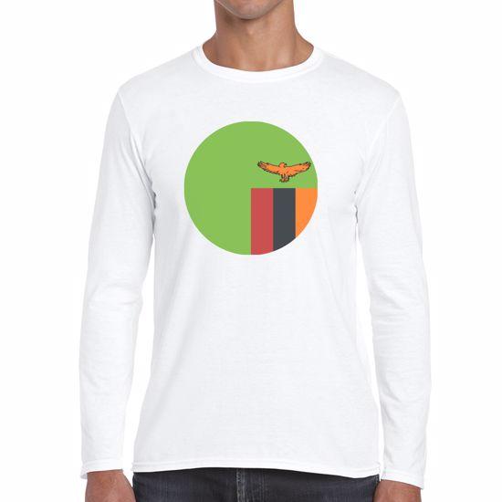 Emoji Zambia Flag Mens Long Sleeve Tshirt