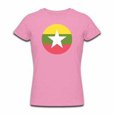 Picture of Emoji Myanmar Flag Womens Tshirt