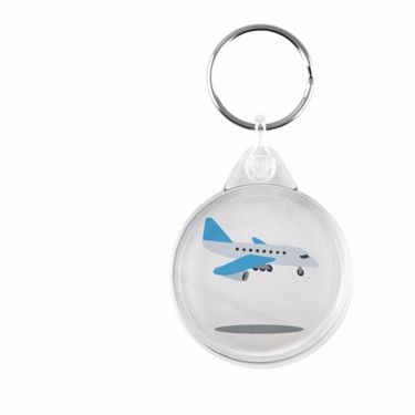 Picture of Emoji Airplane Arriving Plastic Keyring