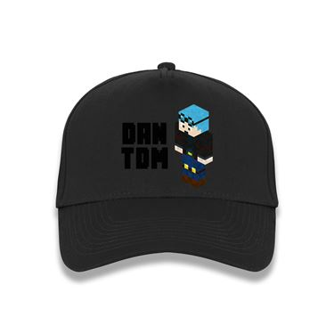 Picture of Dantdm Dan The Diamond Minecart Blue Hair Player Skin 3D Standing Left Pose And Black Text Baseball Cap