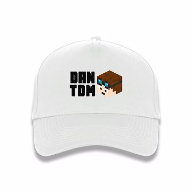 Picture of Dantdm Dan The Diamond Minecart Player Skin 3D Head Left Pose And Black Text Baseball Cap