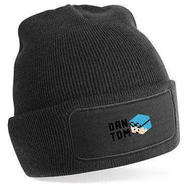 Picture of Dantdm Dan The Diamond Minecart Blue Hair Player Skin 3D Head Left Pose And Black Text Beanie Hat