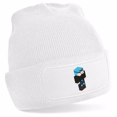 Picture of Dantdm Dan The Diamond Minecart Blue Hair Player Skin 3D Standing Right Pose Beanie Hat
