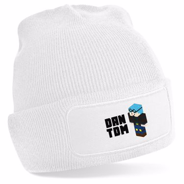 Picture of Dantdm Dan The Diamond Minecart Blue Hair Player Skin 3D Standing Left Pose And Black Text Beanie Hat