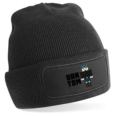 Picture of Dantdm Dan The Diamond Minecart Blue Hair Player Skin Standing Pose And Black Text Beanie Hat