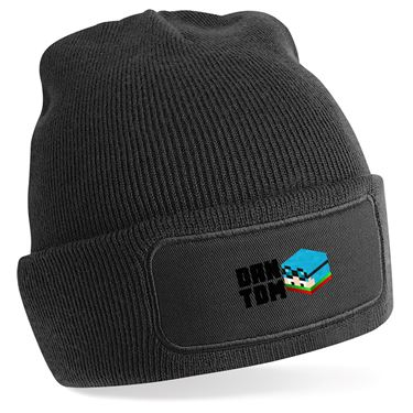 Picture of Dantdm Dan The Diamond Minecart Christmas Player Skin 3D Head Left Pose And Black Text Beanie Hat