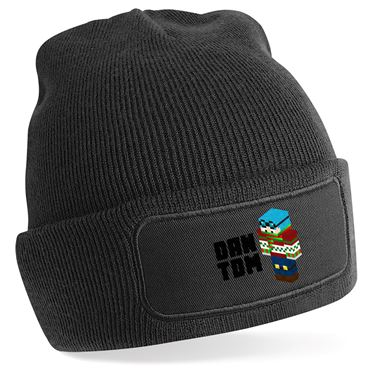 Picture of Dantdm Dan The Diamond Minecart Christmas Player Skin 3D Standing Left Pose And Black Text Beanie Hat