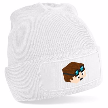 Picture of Dantdm Dan The Diamond Minecart Player Skin 3D Head Right Pose Beanie Hat