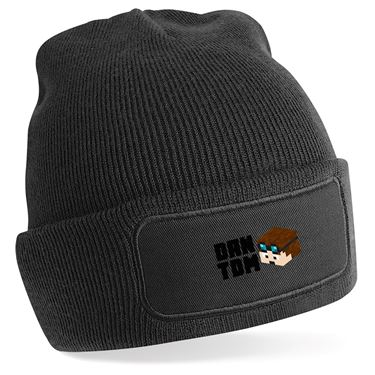 Picture of Dantdm Dan The Diamond Minecart Player Skin 3D Head Left Pose And Black Text Beanie Hat