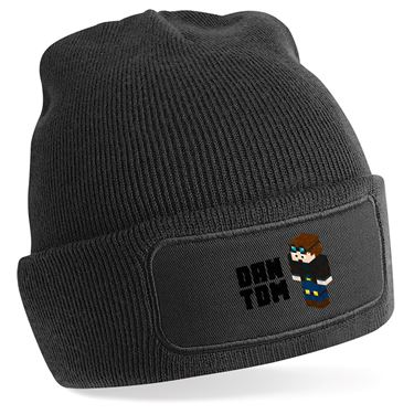 Picture of Dantdm Dan The Diamond Minecart Player Skin 3D Standing Left Pose And Black Text Beanie Hat