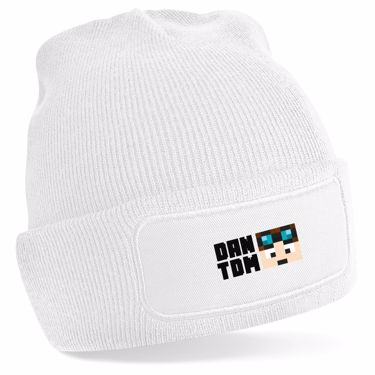 Picture of Dantdm Dan The Diamond Minecart Player Skin Face And Black Text Beanie Hat