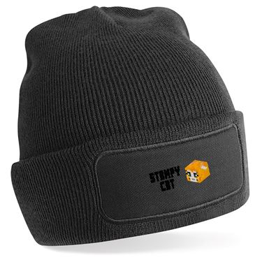 Picture of Stampy Cat Player Skin 3D Head Left Pose And Black Text Beanie Hat