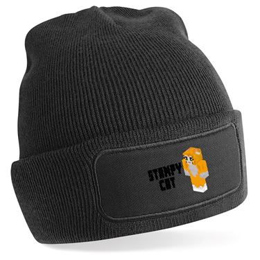 Picture of Stampy Cat Player Skin 3D Standing Left Pose And Black Text Beanie Hat