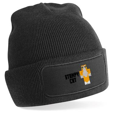Picture of Stampy Cat Player Skin Standing Pose And Black Text Beanie Hat