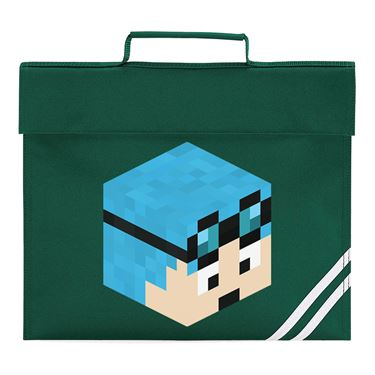 Picture of Dantdm Dan The Diamond Minecart Blue Hair Player Skin 3D Head Right Pose Book Bag