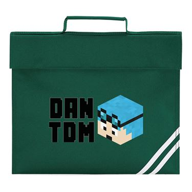 Picture of Dantdm Dan The Diamond Minecart Blue Hair Player Skin 3D Head Left Pose And Black Text Book Bag
