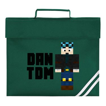 Picture of Dantdm Dan The Diamond Minecart Blue Hair Player Skin Standing Pose And Black Text Book Bag