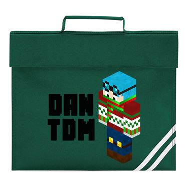 Picture of Dantdm Dan The Diamond Minecart Christmas Player Skin 3D Standing Left Pose And Black Text Book Bag