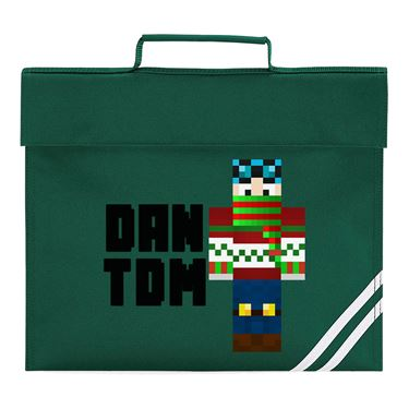 Picture of Dantdm Dan The Diamond Minecart Christmas Player Skin Standing Pose And Black Text Book Bag