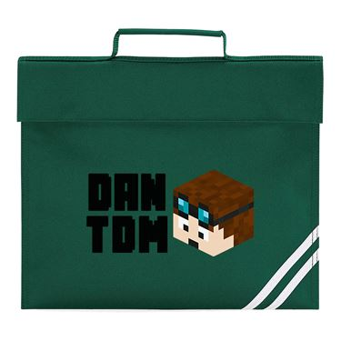 Picture of Dantdm Dan The Diamond Minecart Player Skin 3D Head Left Pose And Black Text Book Bag