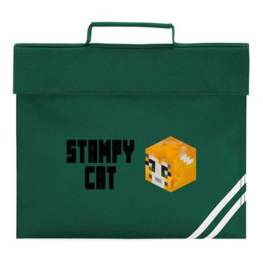 Picture of Stampy Cat Player Skin 3D Head Left Pose And Black Text Book Bag