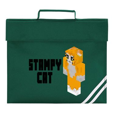 Picture of Stampy Cat Player Skin 3D Standing Left Pose And Black Text Book Bag