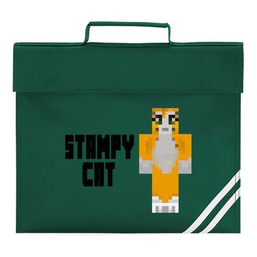 Picture of Stampy Cat Player Skin Standing Pose And Black Text Book Bag